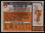 1976 Topps #199  Will Wynn   Back Thumbnail