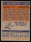 1972 Topps #53  Bob Christian  Back Thumbnail
