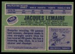 1976 Topps #129  Jacques Lemaire  Back Thumbnail