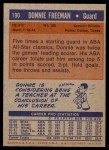 1972 Topps #190  Donnie Freeman   Back Thumbnail