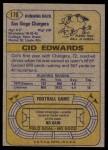 1974 Topps #176  Cid Edwards  Back Thumbnail