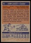 1972 Topps #63  Sam Lacey   Back Thumbnail