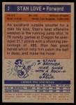 1972 Topps #2  Stan Love   Back Thumbnail
