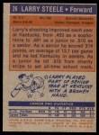 1972 Topps #26  Larry Steele   Back Thumbnail