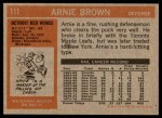 1972 Topps #111  Arnie Brown  Back Thumbnail