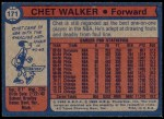 1974 Topps #171  Chet Walker  Back Thumbnail