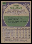 1975 Topps #198  Ron Williams  Back Thumbnail
