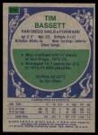 1975 Topps #274  Tim Bassett  Back Thumbnail