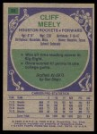 1975 Topps #32  Cliff Meely  Back Thumbnail