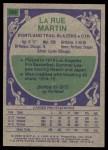 1975 Topps #183  LaRue Martin  Back Thumbnail
