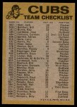 1974 Topps Red Checklist   Cubs Red Team Checklist Back Thumbnail