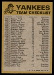 1974 Topps Red Checklist   Yankees Red Team Checklist Back Thumbnail