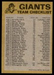 1974 Topps Red Checklist   Giants Red Team Checklist Back Thumbnail