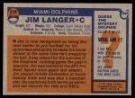 1976 Topps #210  Jim Langer  Back Thumbnail