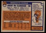 1976 Topps #191  Brent McClanahan   Back Thumbnail