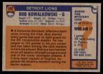 1976 Topps #197  Bob Kowalkowski  Back Thumbnail