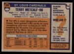 1976 Topps #200  Terry Metcalf  Back Thumbnail