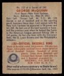 1949 Bowman #232  George McQuinn  Back Thumbnail