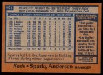 1978 Topps #401  Sparky Anderson  Back Thumbnail