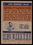 1972 Topps #73  Earl Monroe   Back Thumbnail