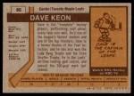 1973 Topps #85  Dave Keon   Back Thumbnail