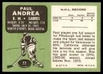 1970 Topps #77  Paul Andrea  Back Thumbnail