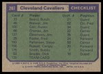 1975 Topps #207   Cleveland Cavaliers Back Thumbnail
