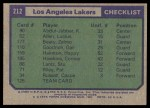 1975 Topps #212   Los Angeles Lakers Back Thumbnail