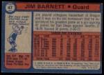1974 Topps #47  Jim Barnett  Back Thumbnail