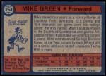 1974 Topps #254  Mike Green  Back Thumbnail