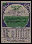 1975 Topps #296  Warren Jabali  Back Thumbnail