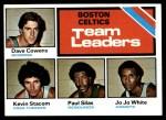 1975 Topps #117   -  Dave Cowens / Kevin Stacom / Jo Jo White Celtics Team Leaders Front Thumbnail
