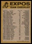1974 Topps Red Checklist   Expos Red Team Checklist Back Thumbnail