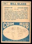 1968 Topps #154  Bill Glass  Back Thumbnail
