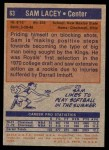 1972 Topps #63  Sam Lacey   Back Thumbnail