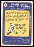 1969 Topps #8  Jacques Lemaire  Back Thumbnail