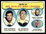 1971 Topps #4   -  Tony Esposito / Ed Johnston / Gerry Cheevers / Ed Giacomin Goalies Win Leaders Front Thumbnail