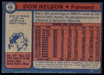 1974 Topps #46  Don Nelson  Back Thumbnail