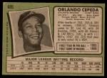 1971 Topps #605  Orlando Cepeda  Back Thumbnail
