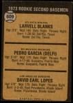 1973 Topps #609   -   Dave Lopes / Larvell Blanks / Pedro Garcia Rookie Second Basemen Back Thumbnail