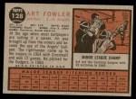 1962 Topps #128 NRM Art Fowler  Back Thumbnail