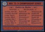 1974 Topps #164   NBA Championship Back Thumbnail