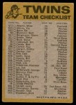 1974 Topps Red Checklist   Twins Red Team Checklist Back Thumbnail
