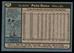 1980 Topps #540  Pete Rose  Back Thumbnail