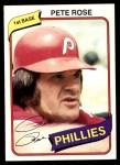 1980 Topps #540  Pete Rose  Front Thumbnail