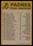1974 Topps Red Checklist   Padres Red Team Checklist Back Thumbnail