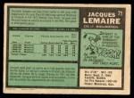 1971 O-Pee-Chee #71  Jacques Lemaire  Back Thumbnail