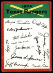 1974 Topps Red Checklist   Rangers Red Team Checklist Front Thumbnail