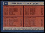 1974 Topps #97  Dick Snyder / Spencer Haywood / Fred Brown  Back Thumbnail