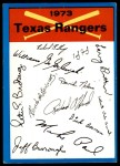 1973 Topps Blue Checklist   Rangers Front Thumbnail